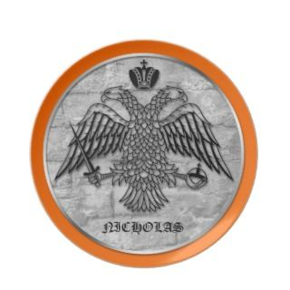 Double Headed Eagle Personalized 10 Orange Plate