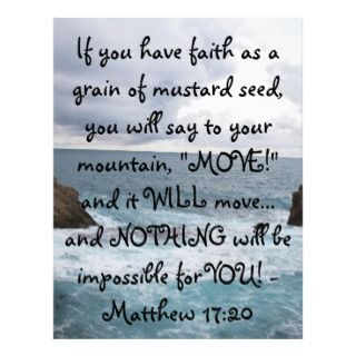 Matthew 17:20 Motivational Bible Quote Letterhead Template