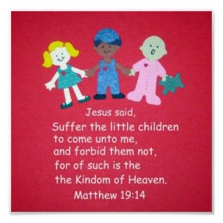 Multicultural children, holding hands with Bible Verse Matthew 1914