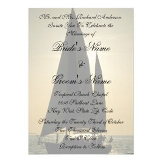 Sunset Sailboat Tropical Wedding Invitation