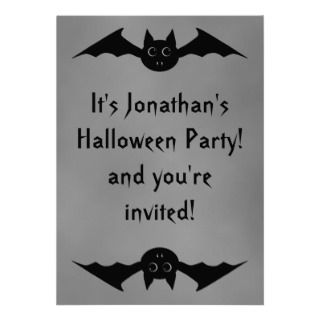 Cute gothic Halloween vampire bat with big eyes Invitation