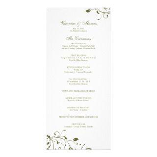 Sage Green Floral Decal Wedding Program Customized Rack Card