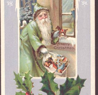 Father Christmas Santa Mint Green Robe Toys Postcard