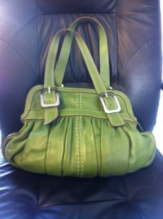 Cole Haan Village Soft Large Green Rouched Leather Zip Handbag Hobo