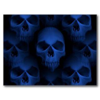 Dark blue gothic evil skull Halloween horror Postcards