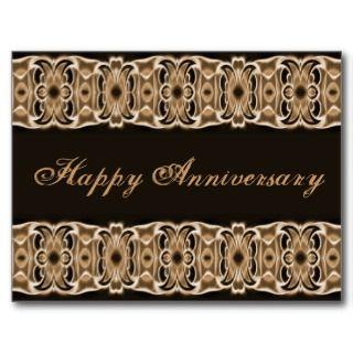 Happy Anniversary brown black Postcard