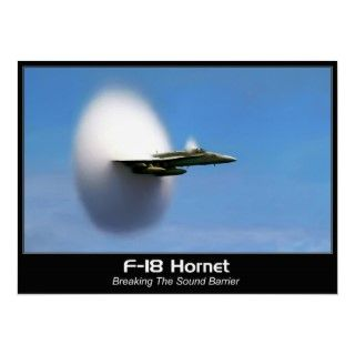 18 Hornet fighter jet transonic shockwave, or sonic boom can be seen