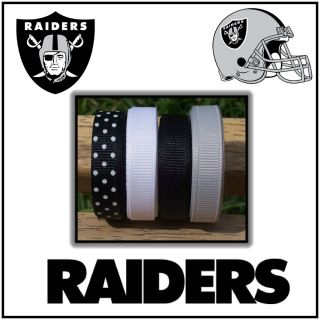 20 yds Oakland Raiders Grosgrain Ribbon Lot