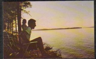1950 60s Sunset Fishing Lake Greenwood SC Postcard PC