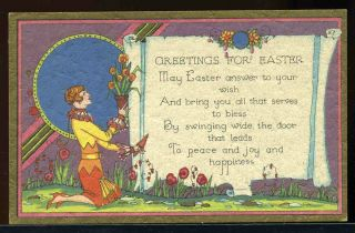Vintage 1920s Art Deco Era Easter Greeting Card Woman Pull Flowers