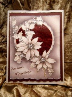 Handmade Greeting Card Christmas Greetings in Pearl