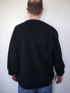 JOHN LAING Scottish 100% CASHMERE Mens V neck Black SWEATER XL