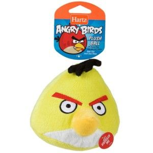 Hartz Official Angry Birds Dog Toy Plush Ball w Soundchip Yellow Bird
