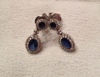 Gregg Ruth Sapphire Earrings with 18K White Gold Diamonds