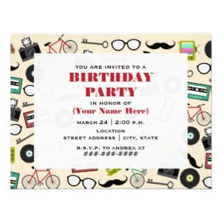Hipster Pattern Birthday Party Invitation
