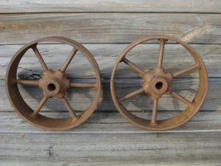 Pair Antique Heavy Cast Iron Industrial or Farm Wheels