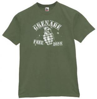 Grenade Free Zone T Shirt Cool Funny Retro Tee OLV L