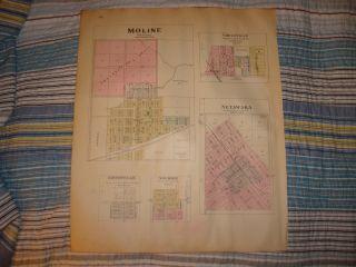 Moline Howard Grenola Netawaka Kansas Antique Map