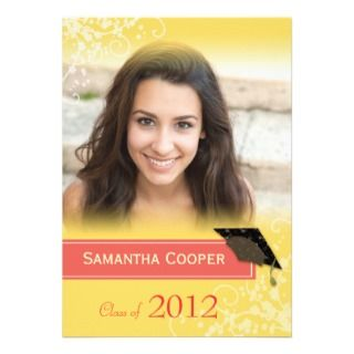 Chic Yellow Swirls Photo Graduation 2012 Party Custom Invites