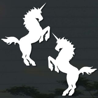 75 x2PC UNICORNS DECAL STICKER CUT OUT MIRROR WALL COMPUTER CAR