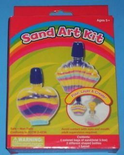 New Sand Art Kit Lot Bottles Colored Sand Funnel Childrens Craft Gift