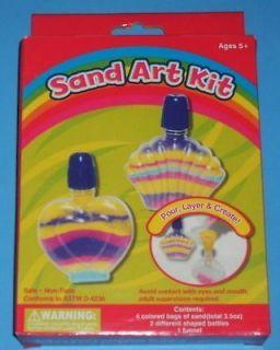 New Sand Art Kit Lot Bottles Colored Sand Funnel Childrens Craft Gift