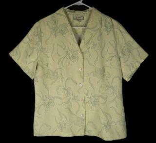 Green Washable Silk Sailor Collar Floral Hawaiian Shirt Top L