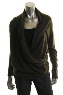 Hayden New Green Cashmere Long Sleeve Detail Wrap Front Pullover