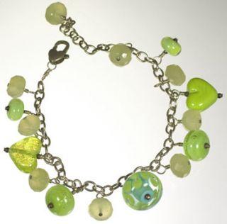 Lampwork Lime Green Hearts Flowers Fluorite Sparkley Dangle Bracelet