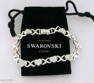 Crystal Tennis Bracelet Silver Tone Hearts Kisses Super Sparkly
