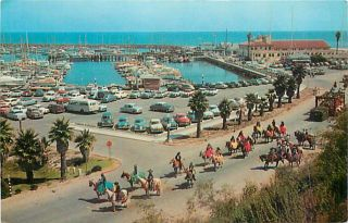 CA Santa Barbara California Yacht Harbor Spanish Fiesta Day 50s Cars