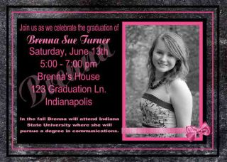 Pink Girl Graduation Birthday Open House Invitation