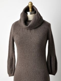 Vince Bergdorf Goodman Heather Brown Turtleneck Sweater Dress Wool
