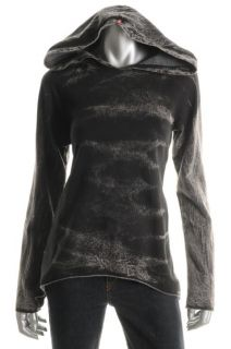 Hard Tail New Black Printed Fleece Long Sleeve Hoodie Top s BHFO