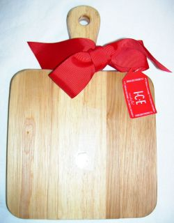 MudPie   7 Square Thick WOOD Kitchen Bar Cutting Board w/ Handle