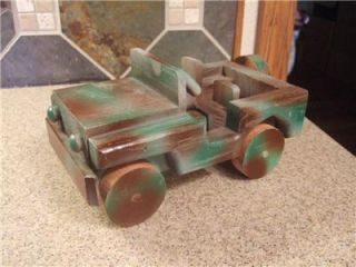 Handmade Handcrafted Camoflage Wood Army Truck Jeep