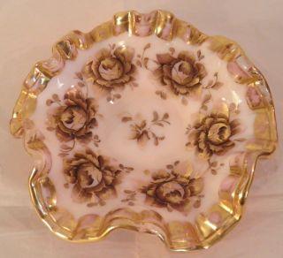 Fenton Charleton Gold Roses Crest Ruffled Candy Dish