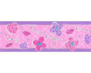 Hugs Kisses Pink Flower Heart Kiss Lips Wall Border