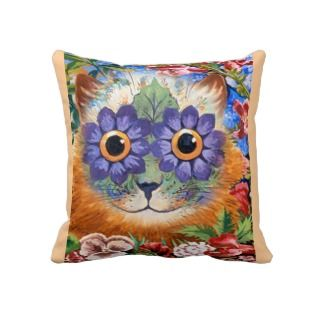 Vintage Louis Wain Flower Cat Throw Pillow