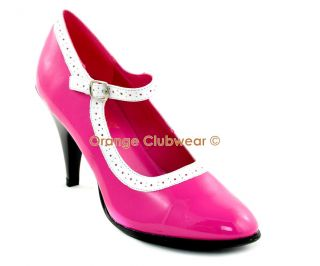 Womens Sexy Vintage Pinup Style Hot Pink Mary Janes High Heels