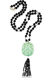 Kenneth Jay Lane Bead and carved jade necklace