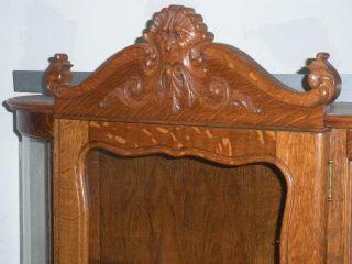 Antique Quarter Sawn Oak Bow Front Adjustable Shelves Curio China