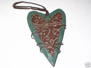 Wood Heart Ornament Rusty Tin Heart Attached Green 5 In