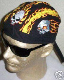 Heavy Metal FLAMING SKULLS FLAME FITTED Bandana Skull CAP do doo du