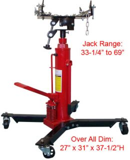 Ton 1000 lbs Hydraulic Telescopic Tall Transmission Jack Lift 2 Stage
