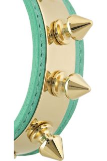 Aurélie Bidermann Camden 18 karat gold plated studded leather bracelet   64% Off