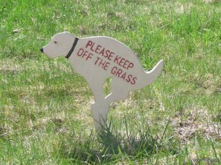 Dog Sign Stake Keep Off Grass New Cast Iron Poop Yard G