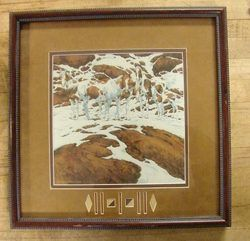 Famous Print by Listed Artist Bev Doolittle Pintos Horse in The Snow