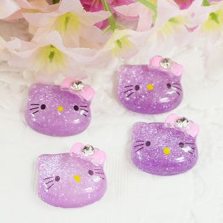 Glitter Hello Kitty Cats Flat back appliques Cabochon Buttons T71