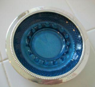 vtg ash tray silver plate W S Blackinton deep blue glass hobnail